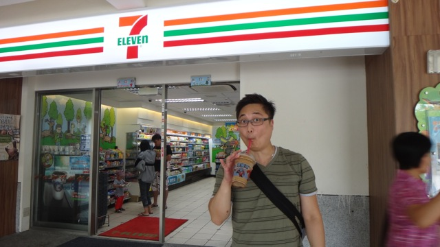 eric with cup at 7-Eleven